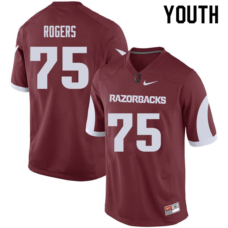 Youth #75 Zach Rogers Arkansas Razorback College Football Jerseys Sale-Cardinal