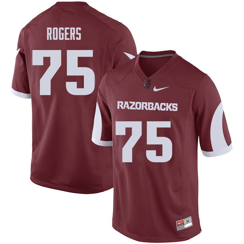 Men #75 Zach Rogers Arkansas Razorback College Football Jerseys Sale-Cardinal